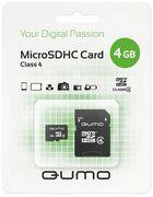 Карта памяти MicroSD 4 Gb 4 кл. Qumo c ад.