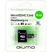 Карта памяти MicroSD 4 Gb 6 кл. Qumo c ад.