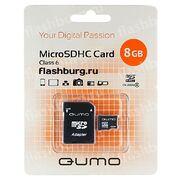 Карта памяти MicroSD 8 Gb 6 кл. Qumo c aд.