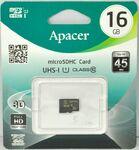 Карта памяти MicroSD 16 Gb 10 кл. Apacer без ад.