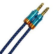 Audio cable (AUX) тканевый с мет. наконечником 3, 5F-3, 5F А 1.0 м